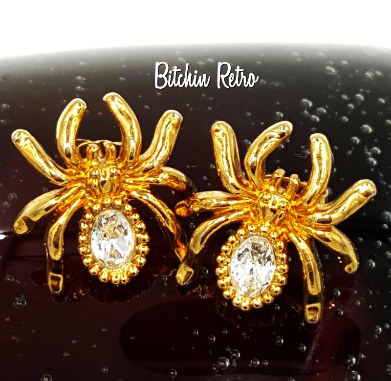 Vintage Avon Rhinestone Spider Earrings    Halloween Costumes