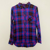 Rails XS Button Front Long Sleeve Plaid Collared Shirt Blue Red Black - $28.83