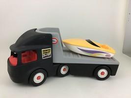 Little Tikes Vintage Rugged Riggz Black Semi Truck Hauler with Yellow Boat - $40.05