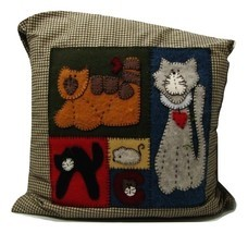 Hand Made Cat  Pillow  - $25.00