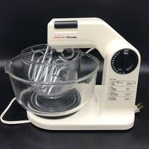 Vtg Sunbeam 12 Speed Mixer 01401 Bowls Beaters Dough Hooks Working  - $64.99