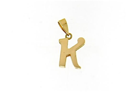 18K YELLOW GOLD LUSTER PENDANT WITH INITIAL K LETTER K MADE IN ITALY 0.71 INCHES
