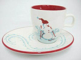 Starbucks 2007 Christmas Holiday Snack Set Cup w Saucer Plate Snowman Penguin - $12.22
