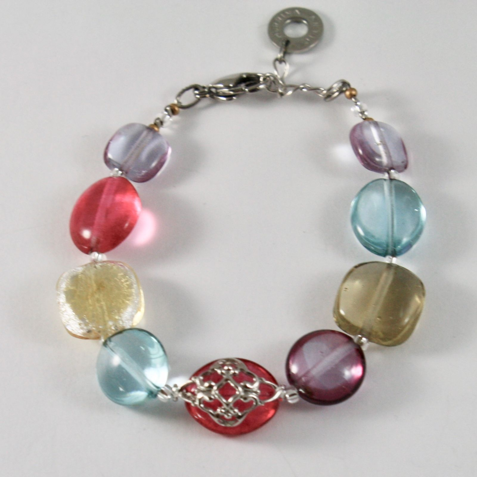 ANTICA MURRINA VENEZIA BRACELET WITH MURANO GLASS OVALS RED PURPLE YELLOW BLUE