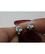 14k White Gold Over 925 Silver Princess Cut Diamond Women's Fancy Stud E... - $33.28