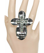 Dark Gray Crystal Glass Stretchable Statement Cross Ring Drag Queen,Goth... - $18.00