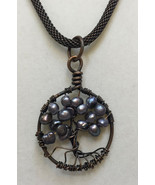 Necklace Tree of Life Pendant Copper Wire Wrapped Gray Freshwater Pearls... - $18.80