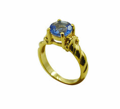 inviting Blue Shappire CZ Gold Plated Blue Ring Natural jewellery US gift - $24.99
