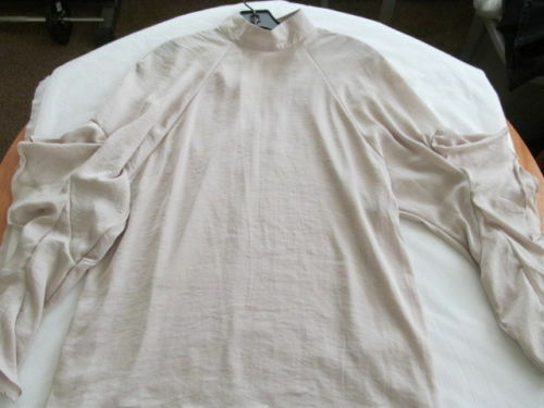 Primary image for H&M Conscious Beige Ruffle Tier Layer longsleeve silky party mockneck top L XL