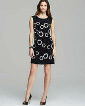 NWT Women's Adrianna Pappell Floral Embroidered Black Shift Dress with P... - $59.39