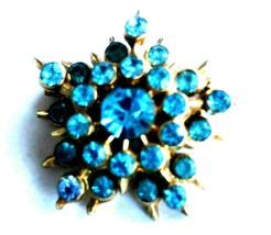Auntie`s Antique Brooch Vintage Jewelry Pastel Blue Star Pin Rhinestone Lot I - $11.88