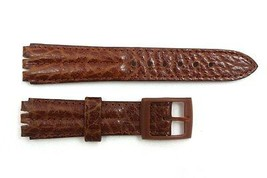 18mm Men's Padded Brown Leather Replacement Band Strap fits SWATCH watches - $14.41