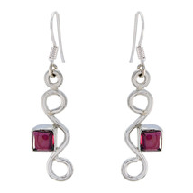 adorable Garnet 925 Sterling Silver Red Earring Natural jewellery US gift - $20.78