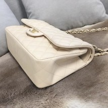 AUTH CHANEL BEIGE LAMBSKIN QUILTED JUMBO DOUBLE FLAP BAG GOLD HARDWARE image 6