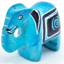 Crafts Caravan Hand Carved Sky Blue Soapstone Elephant Figurine Made in Kenya image 2