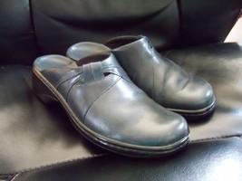 Clarks Low Navy Blue Leather Slide Style Slip On Clogs Size 7 Women's EUC - $31.20
