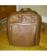 1970 vintage three star brown vinyl luggage bag - $14.85