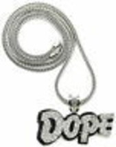 DOPE New Crystal Rhinestone Pendant with 36 Inch Long Franco Necklace - $32.23