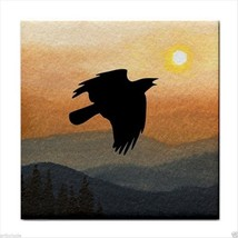 Tile Coaster from painting art Landscape 364 crow raven - $13.99
