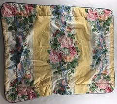 Croscill Princess Floral Yellow Pink Blue Roses Padded Standard Pillow Sham - $15.84
