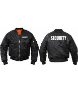 Official Security Uniform Black Jacket Officer Guard MA-1 Bomber Flight ... - $50.99+