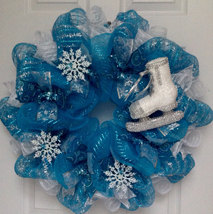 Winter Wreath With Bling Ice Skate And Snowflakes Wreath Handmade Deco Mesh - $89.99