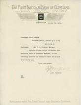 1920 First National Bank Of Cleveland Letterhead Banking Finance Investm... - $5.00