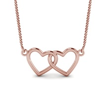 14k Rose Gold Plated 925 Sterling Silver Women's Double Heart Pendant With Chain - $38.99