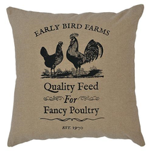 "Burlap 10""Tabletop ""Fancy Poultry""FARMHOUSE Pillow w/Black Chicken/Rooster - £12.98 GBP"