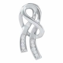 10kt White Gold Womens Round Diamond Ribbon Fashion Pendant 1-12 Cttw - $142.63
