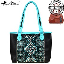 new Montana West Aztec Collection Concealed Carry Tote Handbag turquoise/black - $59.99
