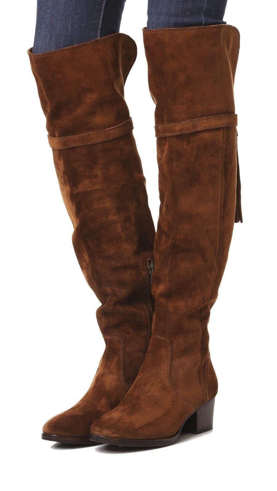 62dba3ee8a7 Frye Clara Tassel Over The Knee Boot Stretch Back Flat Bootie 10 Wood Suede  Otk