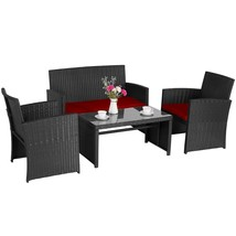 4 PC Outdoor Patio Rattan Wicker Furniture Sectional Set Garden Cushione... - $189.99