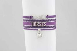 Leatherette Horses Bracelet Purple image 1