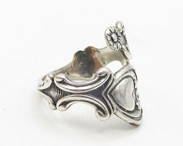 AVON 925 Silver- Vintage Love Heart & Floral Decor Bypass Band Ring Sz 8 - R5094 image 4