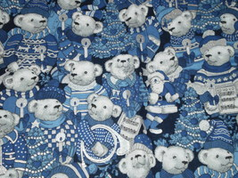 Christmas Polar Bear Fabric Blue, White & Silver Concord The Kesslers 45... - $24.00