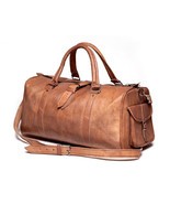 "New 24"" Genuine Rustic Soft Leather Travel Duffel Weekend Men Luggage Gy... - $65.45"