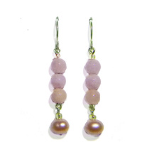 Pink(!) Aquamarine Beads/Cultured Pearls Sterling Silver Dangle Earrings - $27.99