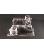 Vintage Boopie Hazel Atlas 4 Luncheon Snack Plates & Cups Clear Glass Bu... - $22.06