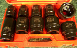 """10pc 1"""" Drive Standard Sae Air Impact Socket Set With Case And Budd CR-MO Wrench - $69.99"""