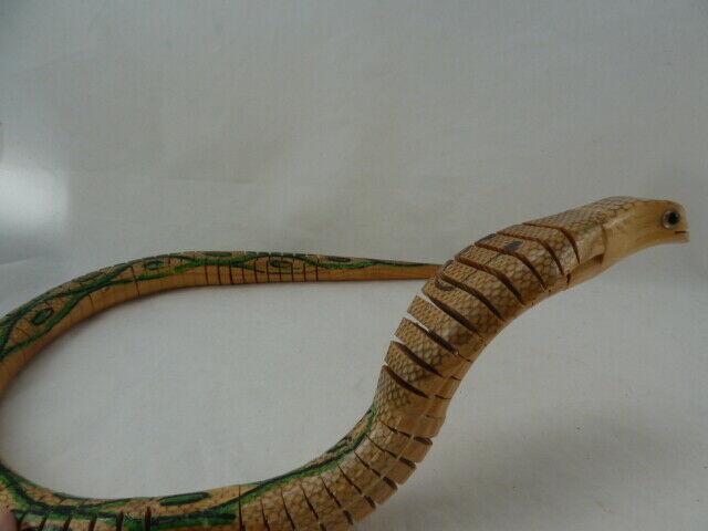 """Vintage Articulated Wooden COBRA TOY SNAKE 24"""" LONG HAND MADE RARE!"""