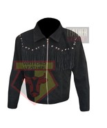 1060 BLACK SUEDE LEATHER AMERICAN STYLE FRINGED BEADED TASSELED LEATHER ... - $198.99