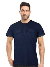Seven Souls Men's Lightweight Slim Fit Henley Fashion T-Shirt (Large, Navy)
