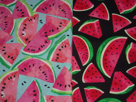 Watermelon Slices on Black and Blue Fabric by Sherry Lot of 2 - $13.95