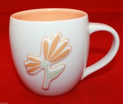 Starbucks Coffee 2006 White Ivory Coffee Tea Mug Cup Raised Flower Orange14 oz - $23.42