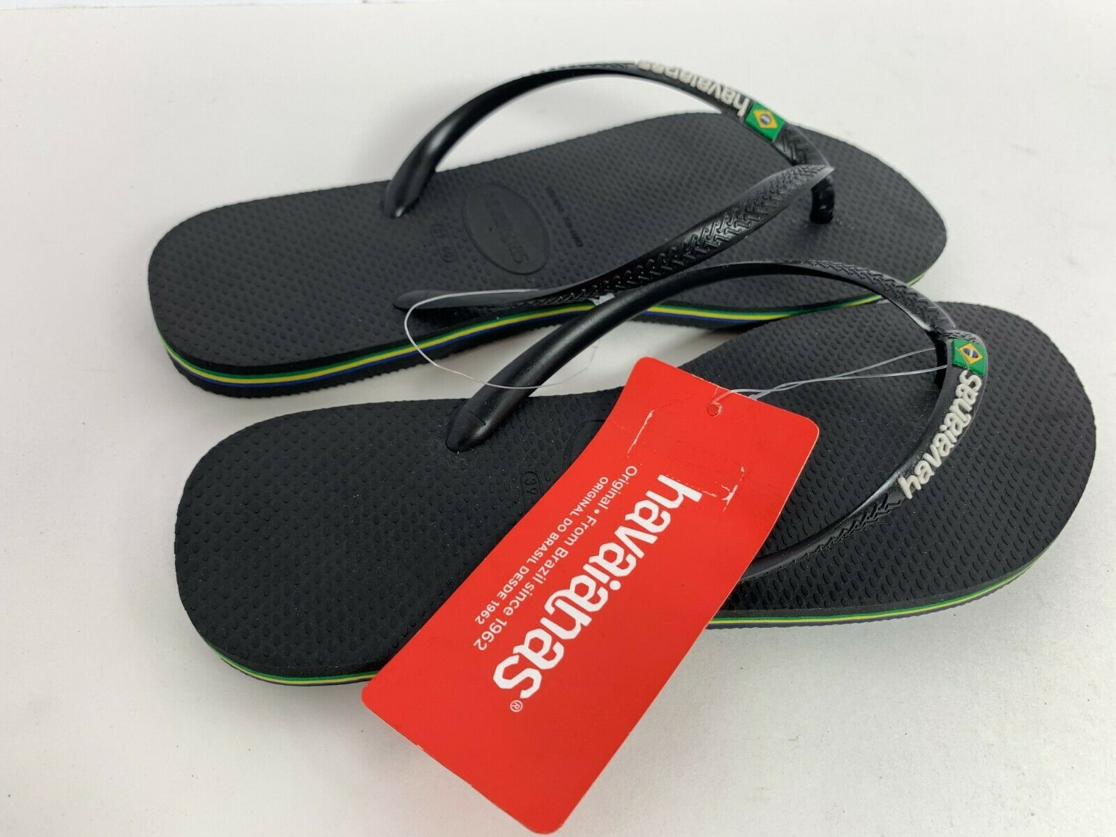 Havaianas Slim Brazil Logo Black Women's Flip Flop Sandals 4140713
