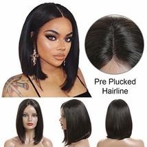 Short Bob Human Hair Wigs Brazilian Straight Virgin Human Hair Lace Front Wigs H image 1
