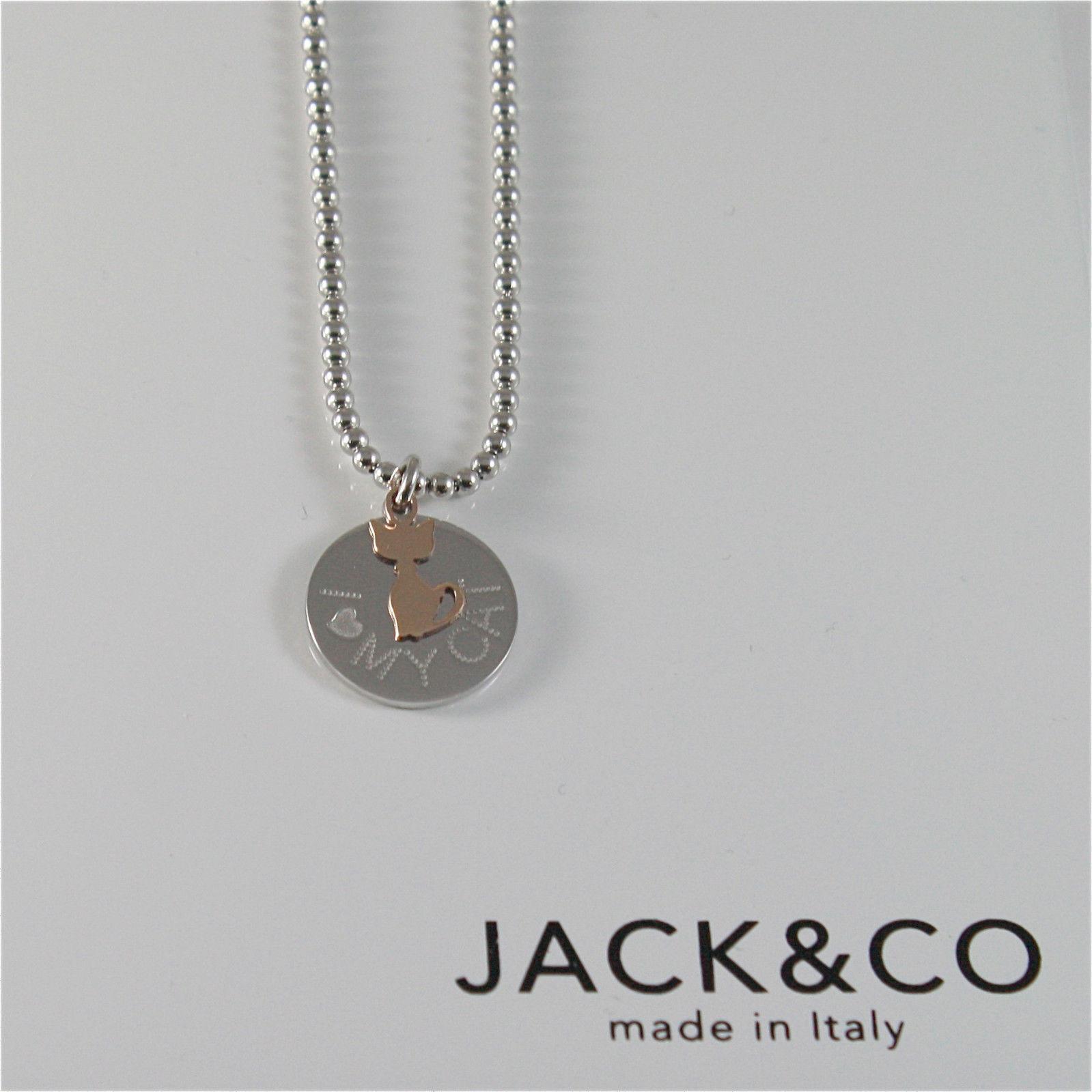COLLAR GRANO DE DE PLATA 925 JACK&CO CON PERRO DE ORO ROSA 9KT JCN0550