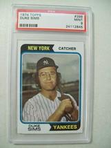1974 NEW YORK YANKEES DUKE SIMS BASEBALL CARD #398 GRADED 9 MINT TOPPS PSA - $19.55