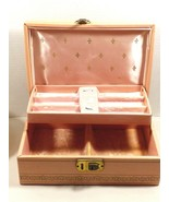 VTG Fold out Jewelry Organizer Box Pink Coral color Vinyl Pink Velvet In... - $34.65